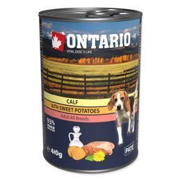 Konzerva ONTARIO Dog Mini Calf, Sweetpotato, Dandelion and Linseed Oil 400g