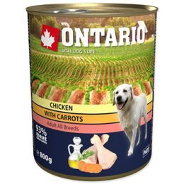 Konzerva ONTARIO Dog Chicken, Carrots and Salmon Oil 800g