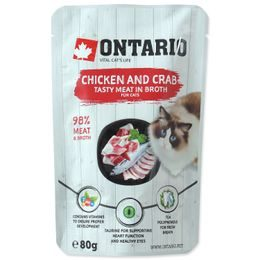 Kapsička ONTARIO Cat Chicken and Crab in Broth 80g