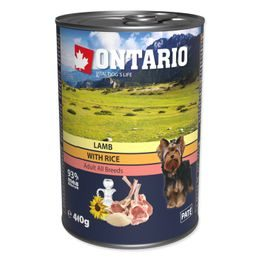 Konzerva ONTARIO Dog Lamb, Rice and Sunflower Oil 400g