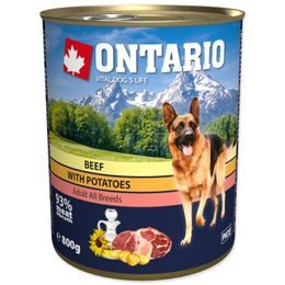 Konzerva ONTARIO Dog Beef, Potatos and Sunflower Oil 800g