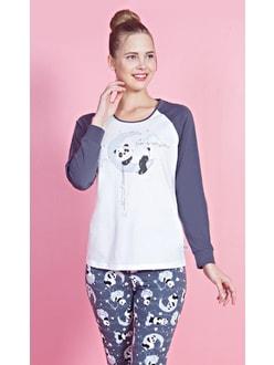 f21a0b0dbd33 Dámské pyžamo dlouhé Panda na měsíci - šedá bílá