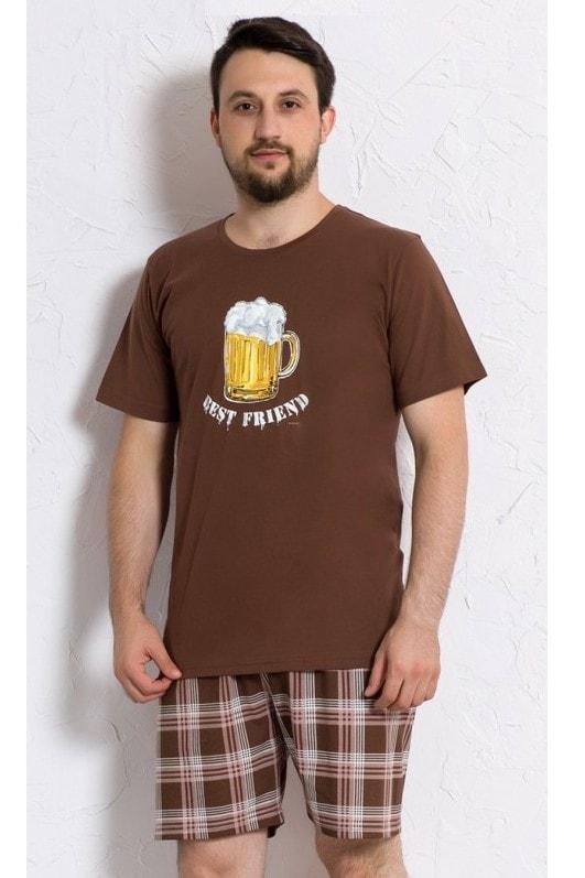 49c56b5d3db1 Plavky-Pradlo.cz - Pánské pyžamo šortky Velké pivo - hnědá - Gazzaz ...