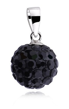 Stříbrná kulička 10 mm se Swarovski Elements - black