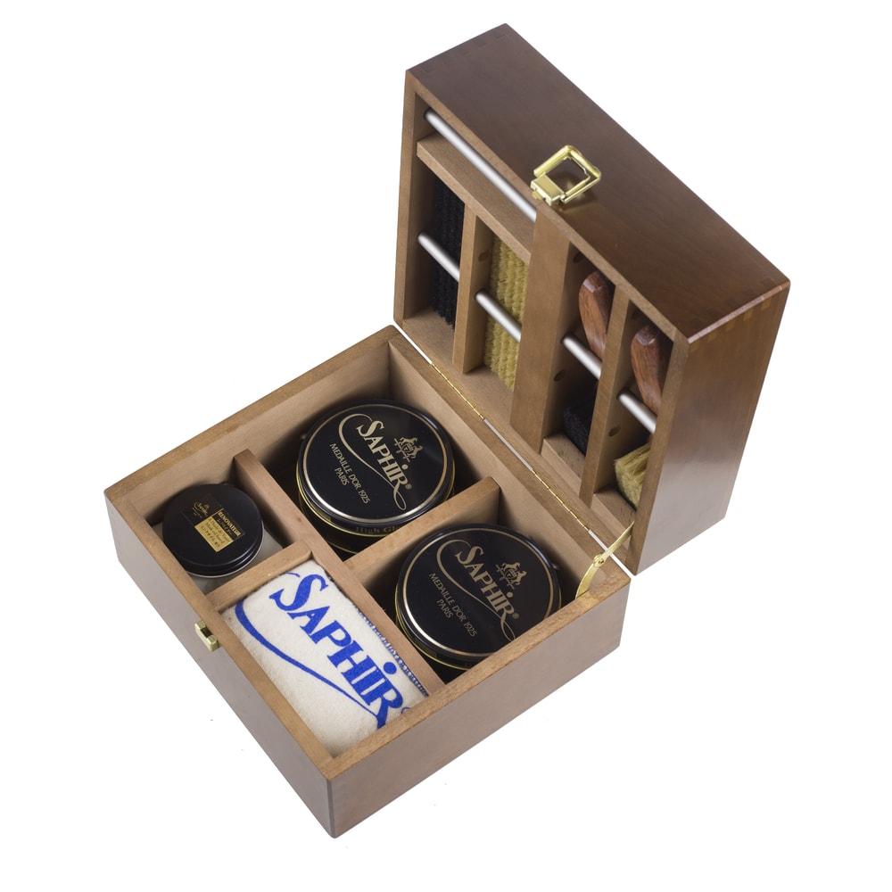 Luxusní mahagonová bedna pro péči o boty Saphir Medaille d'Or