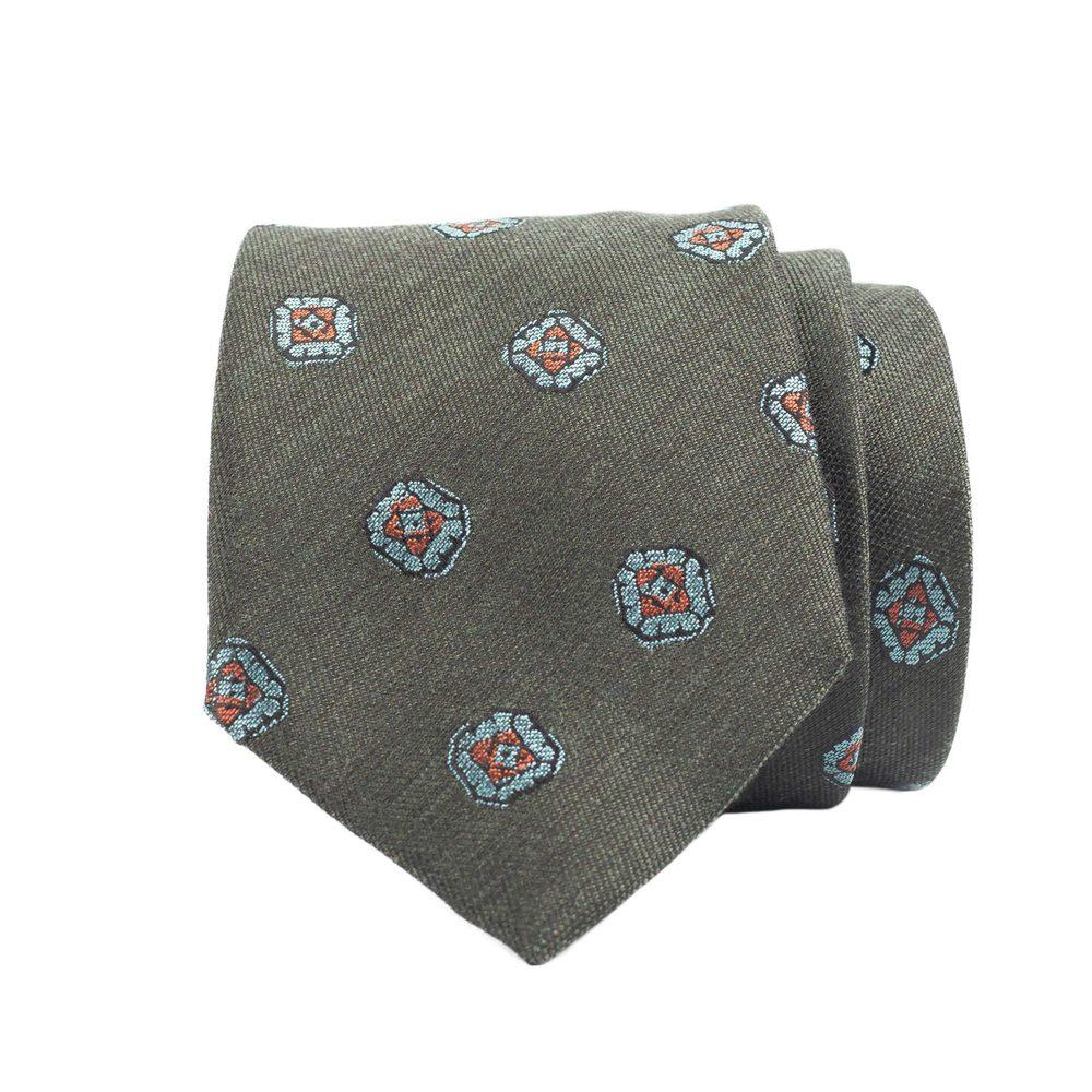 Zelená hedvábná kravata se světle modrými květy John & Paul