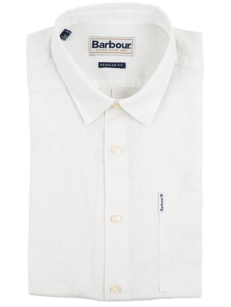 Letní košile Barbour Linen Mix Shirt - bílá - M.  55 % len, 45 % bavlna Klasický střih Klasický límec Kontrastní bílé knoflíky Rovný spodní lem pro nošení ven z kalhot Náprsní kapsička s nášivkou Barbour Limitovaná sezónní kolekce  Jak prát?