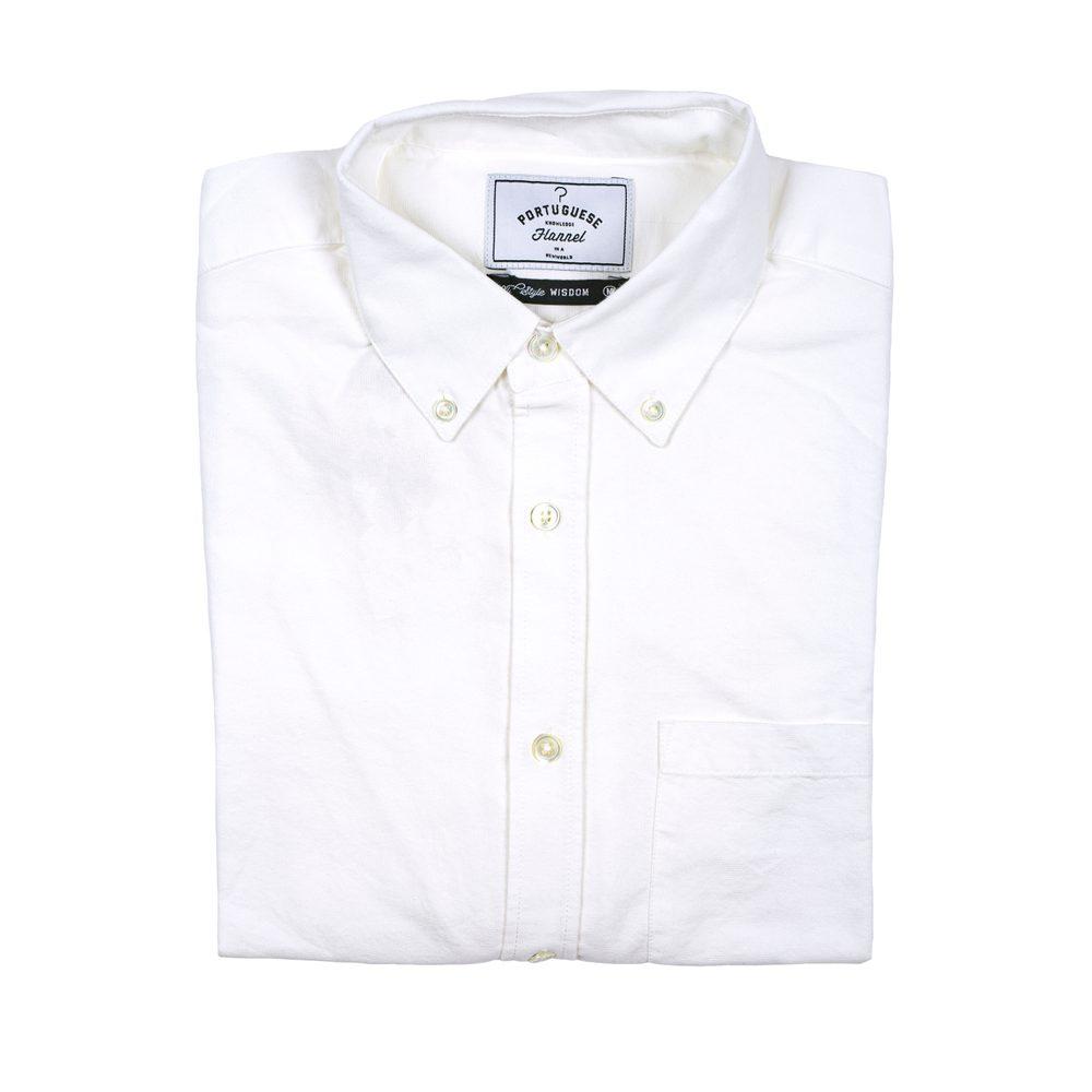 Levně Bavlněná košile Portuguese Flannel Belavista - krémově bílá (button-down) - M