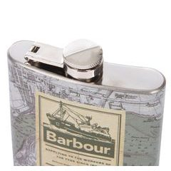 Nerezová placatka Barbour Archive Map Hip Flask - Green