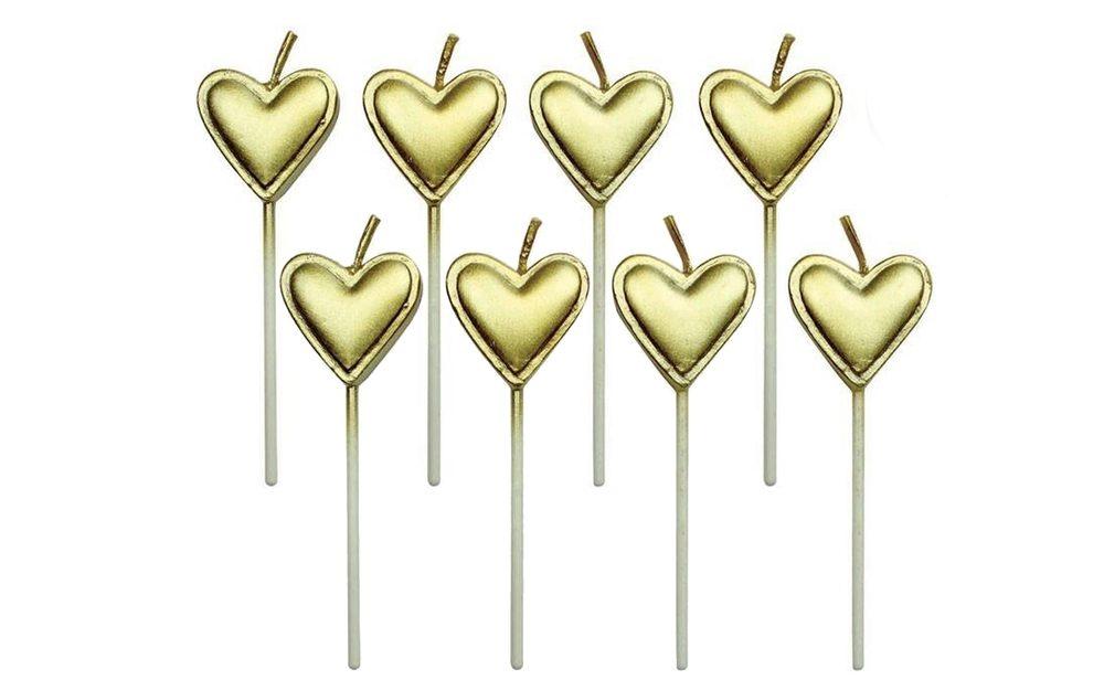 Svíčky zlatá srdíčka - 8 ks - PME