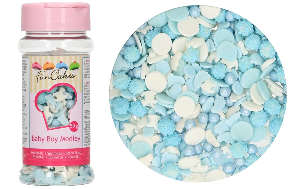 FunCakes Modré a bílé cukrové zdobení Baby Boy 50 g