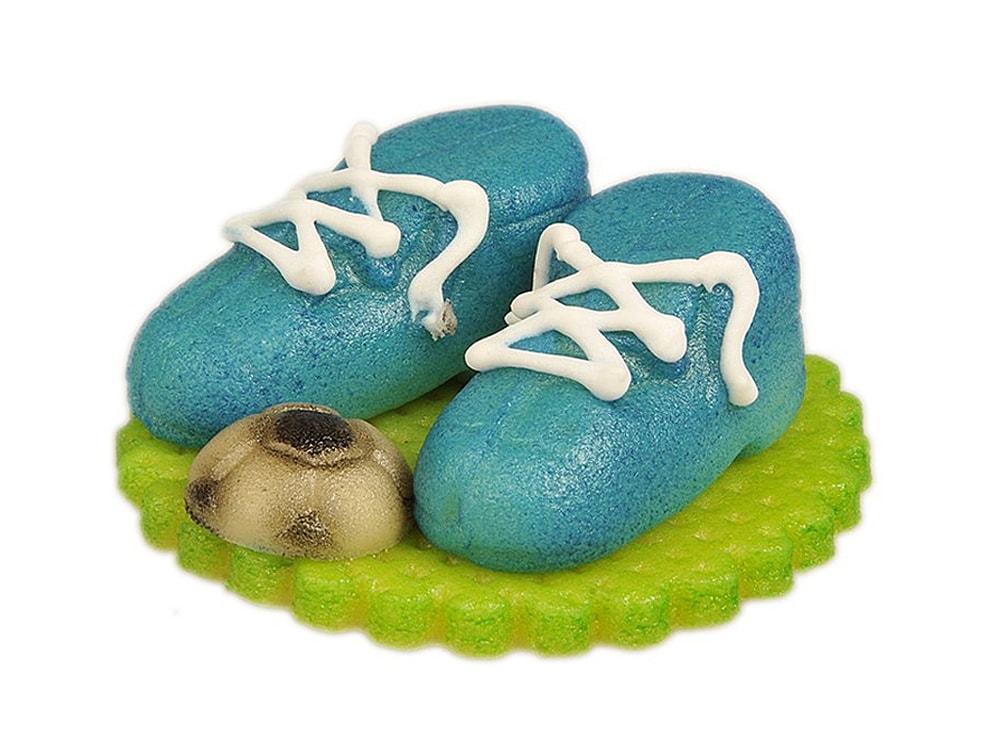 Frischmann Fotbalové kopačky modré s míčem - marcipánová figurka na dort