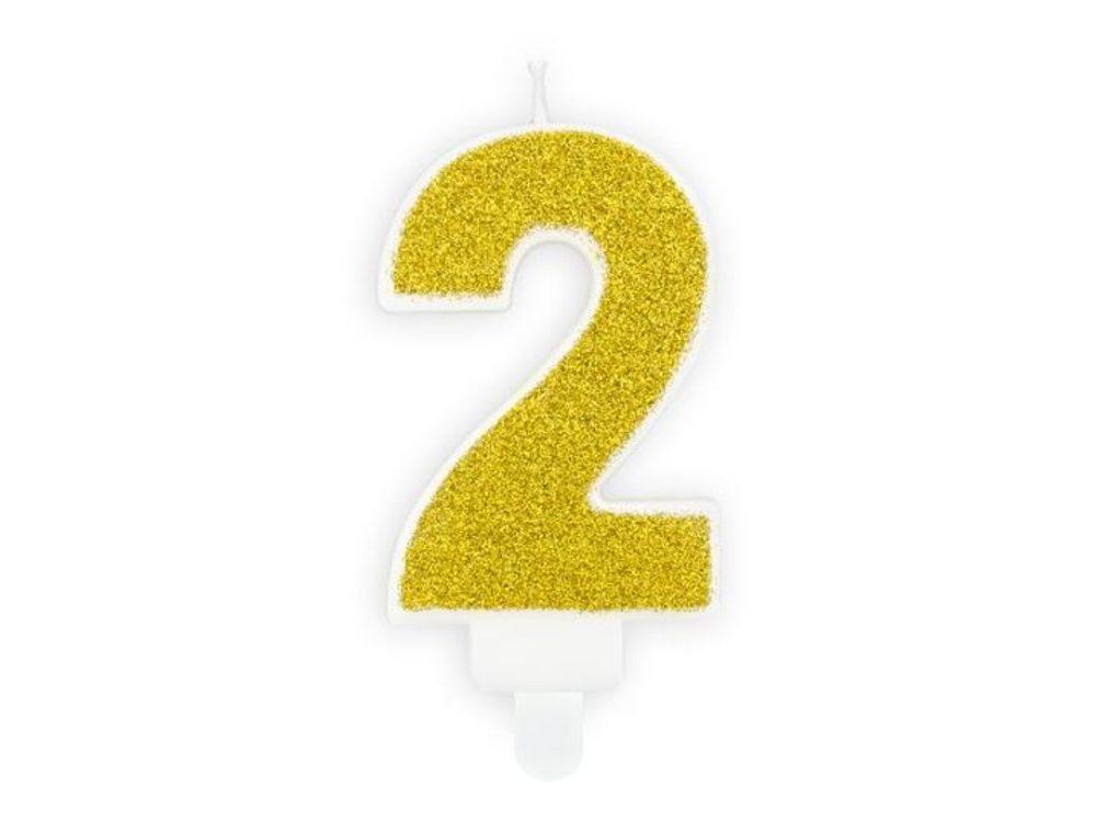 Narozeninová svíčka 2, zlatá, 7cm - PartyDeco