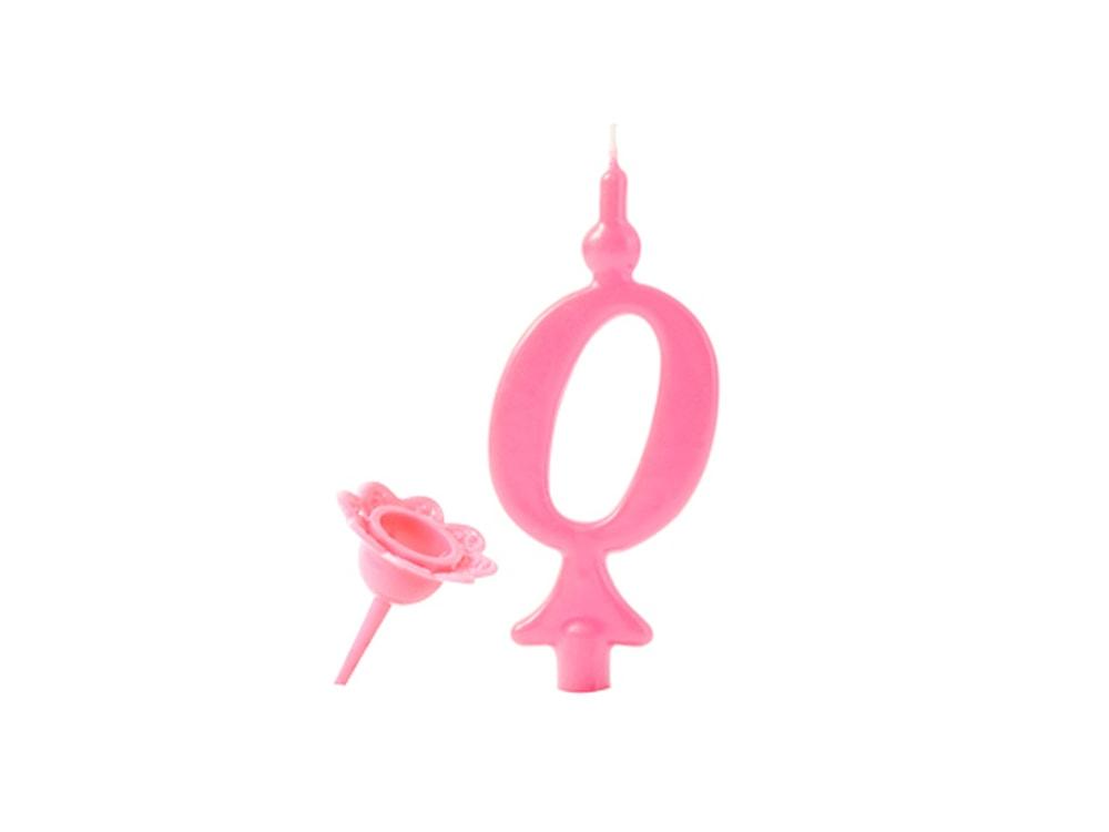 Narozeninová svíčka se zapichovacím stojánkem - Číslice růžová 0 - Modecor