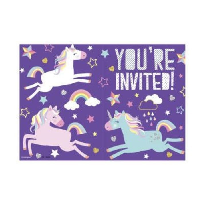 Pozvánky Jednorožec - Unicorn, 8 ks - UNIQUE