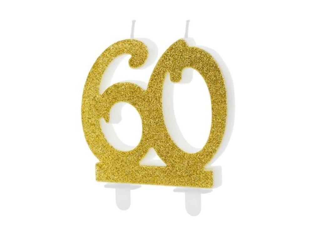 Narozeninová svíčka 60, ZLATÁ - 7,5 cm - PartyDeco