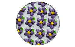 Sugar decorations -  Flowers simple with a leaf 35 pc. purple