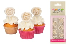 Marzipan Decorations Roses Silver Set/6