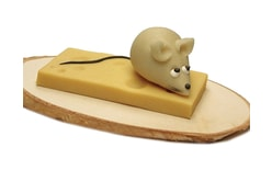 Mouse on a slice of cheese - marzipan cake topper