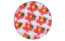 Sugar decoration - Piped floweres simple with a leaf 35 pc. red