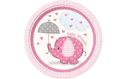 "Taniere umbrellaphants ""Baby shower"" - Dievča / Girl - 22 cm, 8 ks"