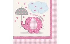 "Servítky Umbrellaphants ""Baby shower"" - Dievča / Girl 16 ks"