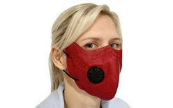 Respiratory protective mask KN95 with exhalation valve - burgundy