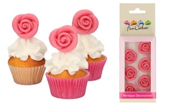 Marzipan Decorations Roses Pink Set/6