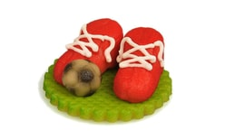 Football boots red with a ball - marzipan cake topper