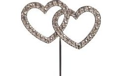 Cake Topper Diamante Double Heart