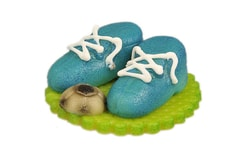 Footaball boots blue with a ball - marzipan cake topper