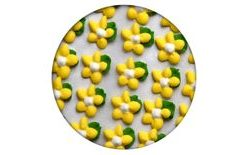 Sugar decoration - Flowers simple with a leaf 35 pc. yellow
