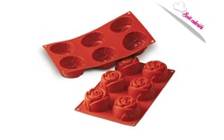 Silicone moulds on a sheet Rose