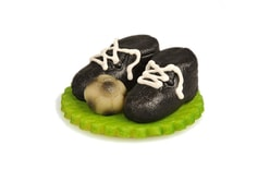 Football boots with a ball from marzipan - black