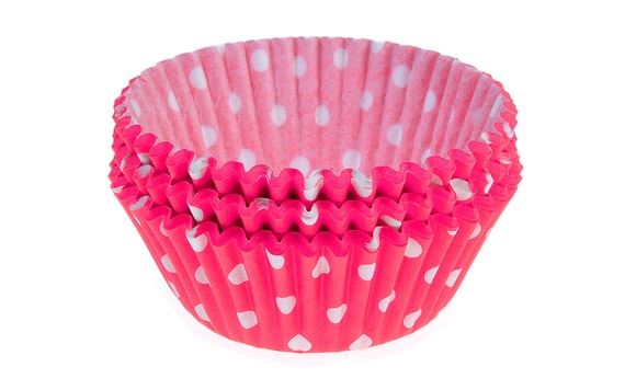 CONFECTIONERY PAPER CASES 50 X 30 MM (60 PC.) - PINK WITH DOTS