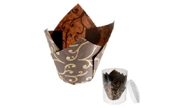 MUFFIN WRAP TULIP BROWN WITH A GOLDEN DESIGN (12 PC.)