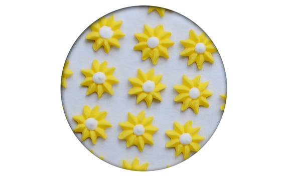 SUGAR DECORATION - ASTER 35 PC. YELLOW