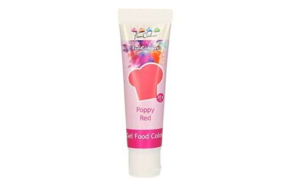 FUNCAKES EDIBLE FUNCOLOURS GEL - POPPY RED 30 G