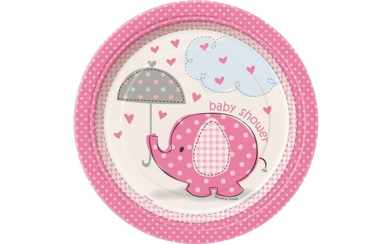 "TALÍŘE UMBRELLAPHANTS ""BABY SHOWER"" - HOLKA / GIRL -17 CM, 8 KS"
