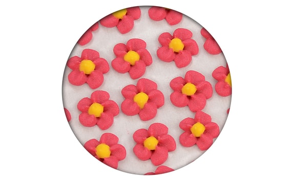 SUGAR DECORATION - PIPED FLOWERS 35 PC. RED