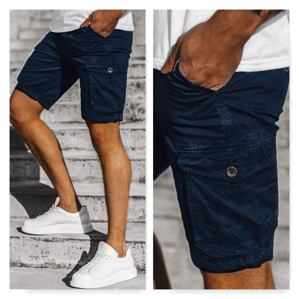 pánske krátke modré cargo nohavice