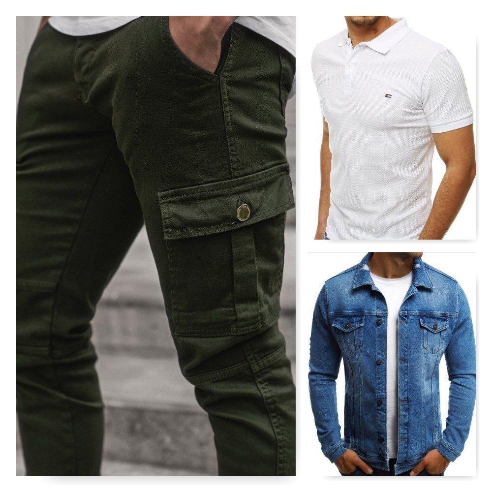 olivové pánske cargo nohavice, biela polokošeľa, modrá pánska rifľová bunda
