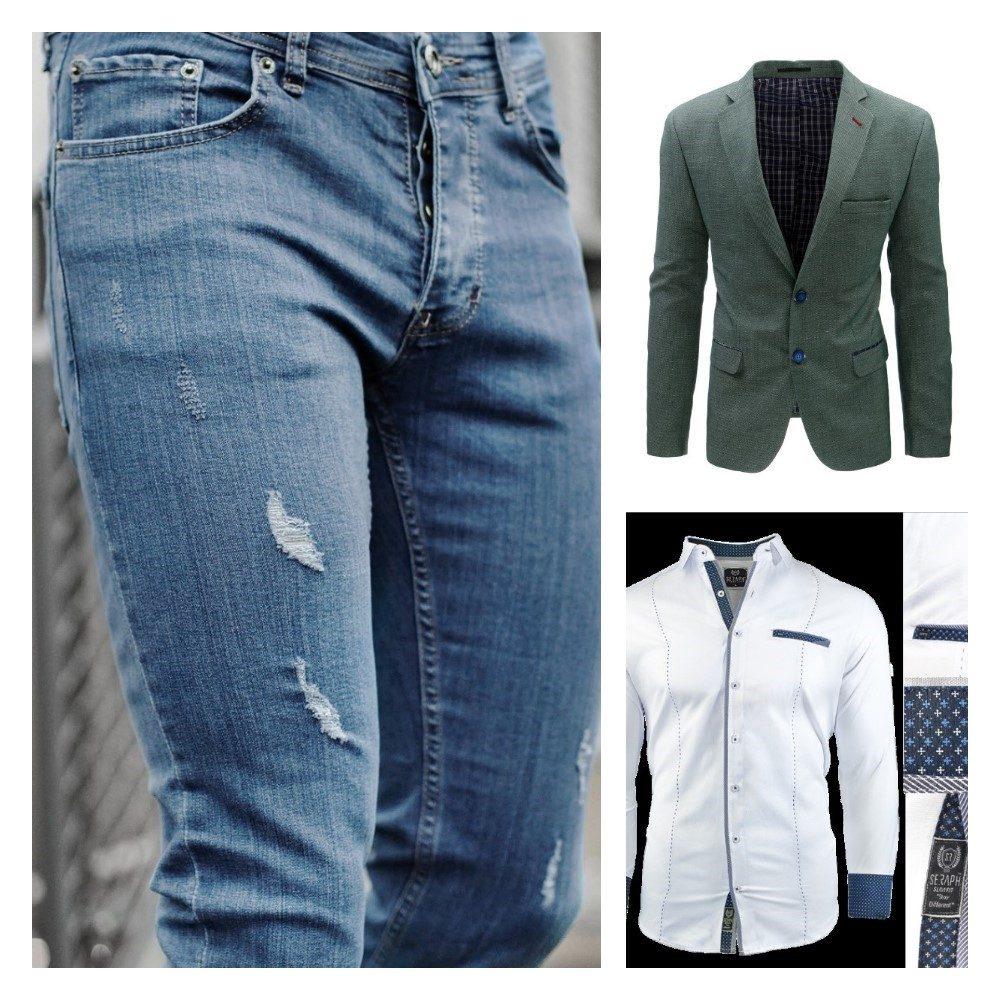 zelené pánske sako, biela košeľa s modrým lemom a modré pánske roztrhané rifle