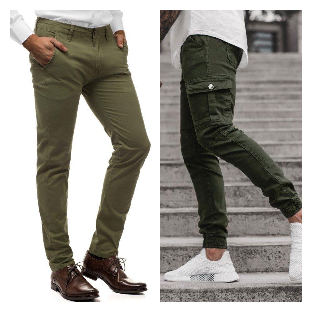zelené chino nohavice a zelené pánske cargo nohavice