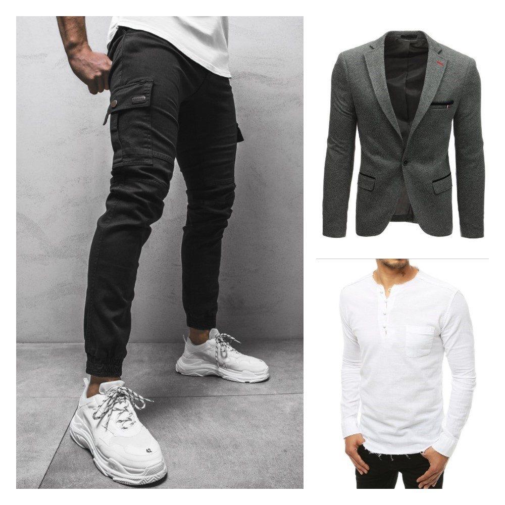 čierne kapsáče, šedé športové sako, pánska biela košeľa v netradičnom prevedení