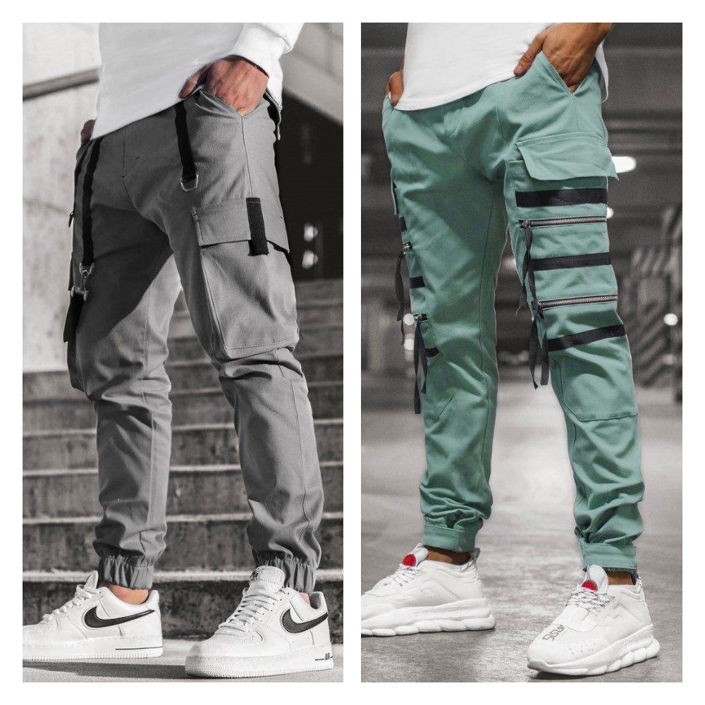 moderné mätové pánske cargo nohavice, sivé pánske cargo nohavice