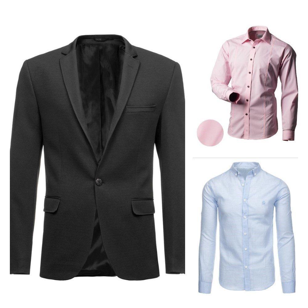 šedé pánske sako, svetloružová pánska košeľa, svetlomodrá pánska košeľa