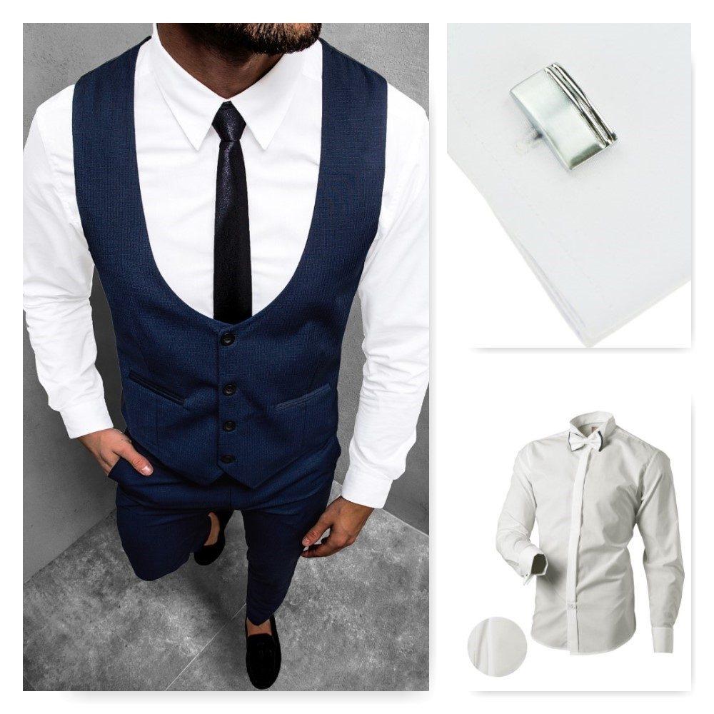 modrá elegantná obleková vesta, biela košeľa a modré spoločenské elegantné nohavice, strieborné manžetové gombíky