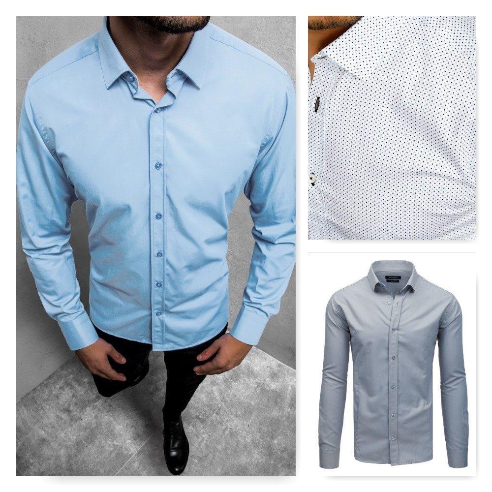 pánske košele - biela s bodkami, sivá, svetlo modrá