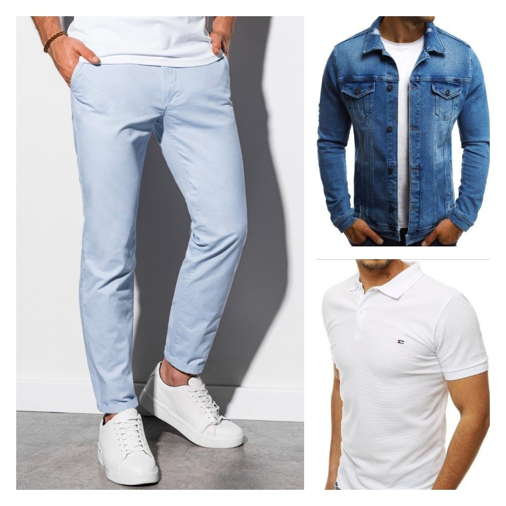 pánsky outfit - svetlomodré chinos nohavice, biela polokošeľa a modrá pánska rifľová bunda